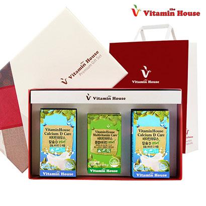[비타민하우스] 칼슘D 케어 60정 2병+비타민 케어 30정+선물박스+쇼핑백 (업체별도 무료배송)