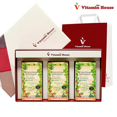 [비타민하우스][선물셋트] 멀티비타민 웰플러스 60정 3병+선물박스+쇼핑백 (업체별도 무료배송)