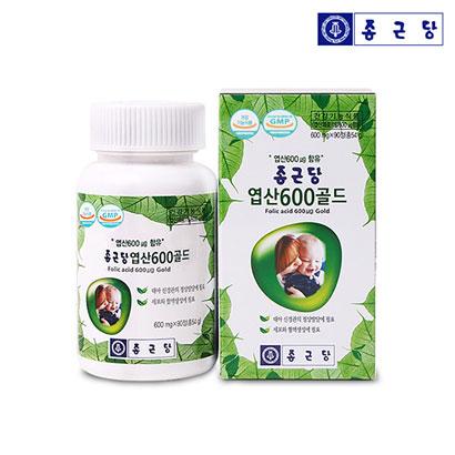 [1+1] 종근당 엽산600 골드 600mg*90정 (업체 별도 무료배송)