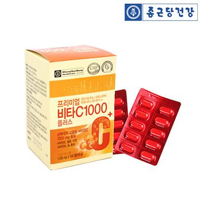 [1+1] 종근당건강 프리미엄 비타C 1000플러스 1,100mg*100정 (업체 별도 무료배송)