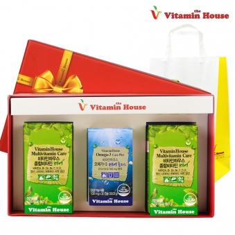 [비타민하우스][선물셋트] 종합비타민 케어 1,200mg*60정 x 2병+오메가-3 케어 플러스 1,001mgx30캡슐 x 1병 (업체별도 무료배송)