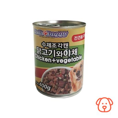 헬로도기 수제조각캔(주식캔) 닭고기와 야채 400g