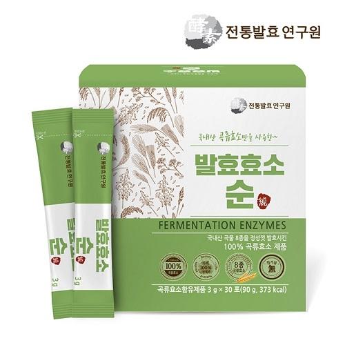 한국전통발효연구원 유기농 발효효소 순 3g*30포 (업체별도 무료배송)