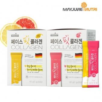 [메이준] 페이스핏 저분자 콜라겐 2g*30포X2박스 (레몬맛/자몽맛) (업체별도 무료배송)