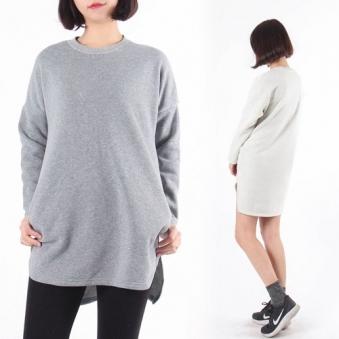 기모 언발란스 롱 티셔츠 T999 (그레이, 오트밀) (업체별도 무료배송)