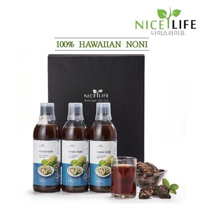 [선물세트] 나이스라이프 하와이 100% 유기농 노니원액 500ml*3병  (업체별도 무료배송)