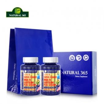 [추석선물관] 슈퍼파워 복합루테인+비타민 500mg*90캡슐x2병 (6개월분)+쇼핑백포함 (업체별도 무료배송)