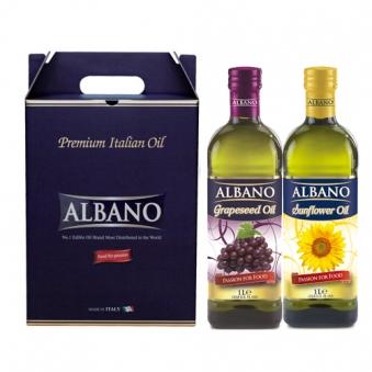 이태리 직수입 알바노 이탈리아 선물세트 포도씨유 + 해바라기 각1000ml 2병 선물세트 (업체별도 무료배송)