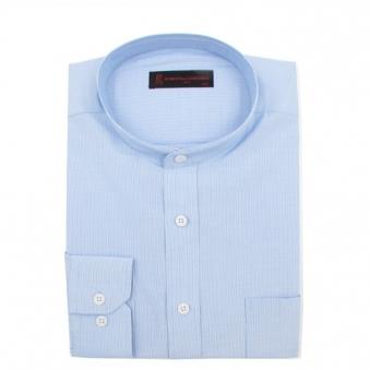 로베르따 RH14052 긴소매 일반핏 차이나카라 블루 스트라이프 셔츠 (업체별도 무료배송)