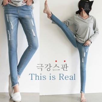 서빈 빈스걸 로데스키니(S~XL)스키니핏 헤짐 빅사이즈 데님 팬츠 (업체별도 무료배송)