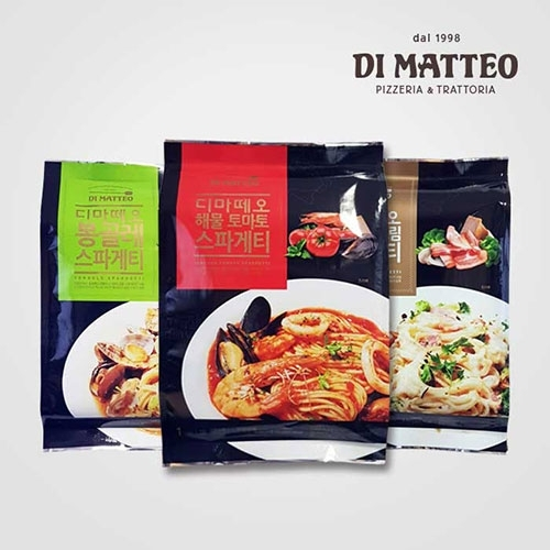[마감세일] 디마떼오 스파게티 x 12팩 (해물토마토/베이컨크림/봉골레 각 4팩씩) (업체별도 무료배송)