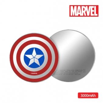 마블 캡틴쉴드 원형 보조배터리 3000mAh (업체별도 무료배송)