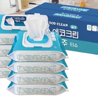 [다다익선] 에코그린 행주티슈 70매X8개 (업체별도 무료배송)