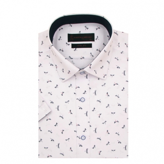 로베르따 슬림핏 화이트 프린트 반소매 셔츠 RH2467_1(화이트) (업체별도 무료배송)