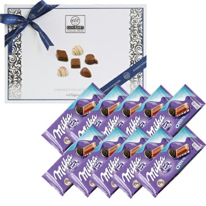 엘리트 초콜릿 프랄린 컬렉션 252g (쇼핑백 동봉) + 밀카 오레오 100g x 10개 (업체별도 무료배송)