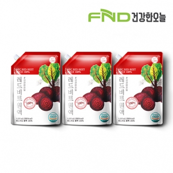 FND건강한오늘 레드비트 착즙원액 1L x 3팩 (업체별도 무료배송)