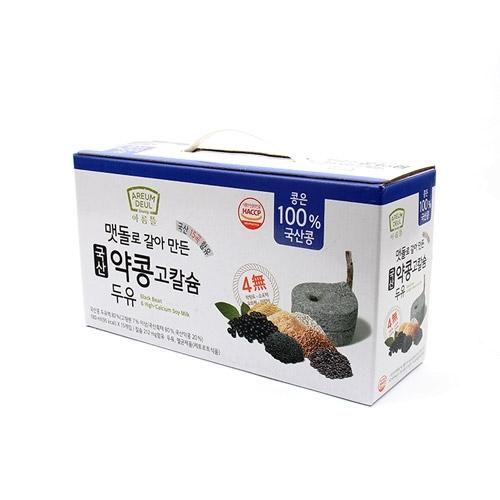 [아름뜰] 국산 검은콩 100% 맷돌로 갈아만든 국산 약콩 두유 180ml*15입 x 3박스 (총 45입) (업체별도 무료배송)