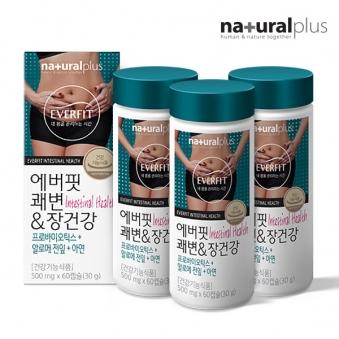 내츄럴플러스 에버핏 쾌변&장건강 500mg*60정 x 3병 (업체별도 무료배송)