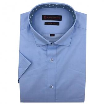 로베르따 슬림핏 블루 스냅버튼 무지 반소매 셔츠 R52758_2(블루) (업체별도 무료배송)