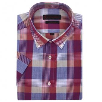 로베르따 슬림핏 퍼플 체크 반소매 셔츠 R52854_4(퍼플) (업체별도 무료배송)