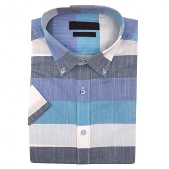 로베르따 슬림핏 블루 스트라이프 반소매 셔츠 RH2461_2(블루) (업체별도 무료배송)