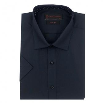 로베르따 슬림핏 블랙 무지 반소매 셔츠 RI2358_9(블랙) (업체별도 무료배송)