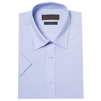 [로베르따] 슬림핏 블루 레이온 무지 반소매 셔츠 RA2351_2(블루) (업체별도 무료배송)