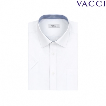 [VACCI] 바찌 일반핏 화이트 옥스포드 도비 반소매셔츠 02_A0 (업체별도 무료배송)