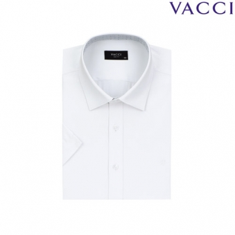 [VACCI] 바찌 슬림핏 화이트 요꼬 도비 반소매셔츠 06_A0 (업체별도 무료배송)