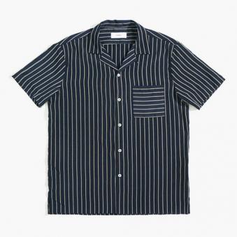 [only1%] 실크 스트라이프 반팔 셔츠 (업체별도 무료배송)