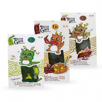 용패 빵오 김스낵 (와사비맛,매운맛,바베큐맛) 3.5g*8매 x 4박스 (업체별도 무료배송)