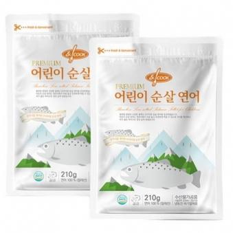 [앤쿡] 순살생선 스테이크 연어 210g*2팩 (가시제거+무염) (업체별도 무료배송)