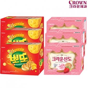 크라운 뽀또 치즈타르트 161g*3개+산도 딸기치즈크림 161g*3개 (총2종/6개) (업체별도 무료배송)