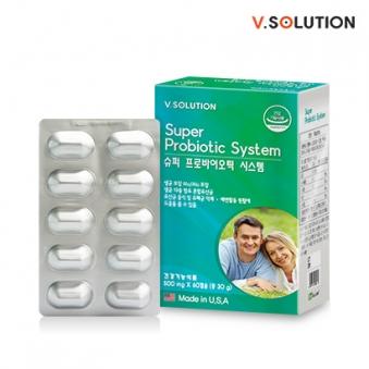 브이솔루션 슈퍼 프로바이오틱 시스템 500mg*60캡슐 (업체별도 무료배송)