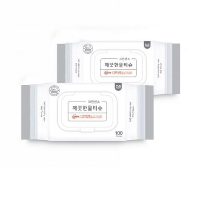 [다다익선] [크린센스] 스스로살균캡 깨끗한물티슈 캡형 100매 x 10개 (업체별도 무료배송)