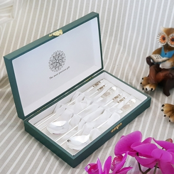 [추석선물] 민트 전통 부엉이 은수저 2인세트 / 은도금+보증서+선물포장+쇼핑백 (업체별도 무료배송)