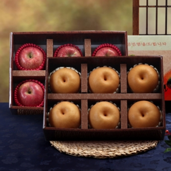 [명절특선] 알찬 사과 1박스(6과)+배 1박스(6과) (업체별도 무료배송)