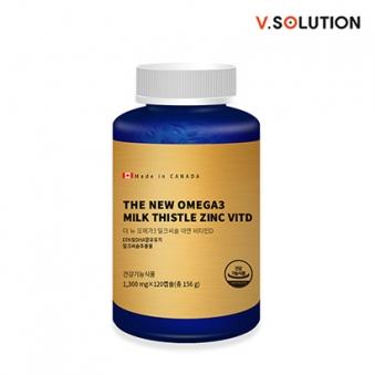브이솔루션 더 뉴 오메가3 밀크씨슬 아연 비타민D 1300mg*120캡슐 (업체별도 무료배송)