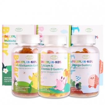 에버그린 데일리플랜 - 키즈 꾸미3종 (오메가+멀티비타민+칼슘&비타민D) (업체별도 무료배송)