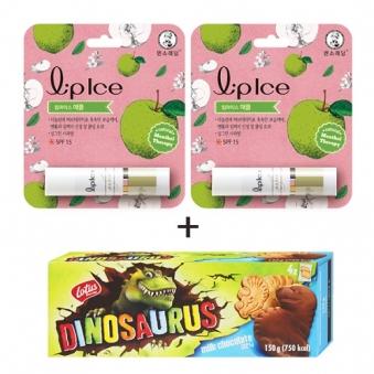 멘소래담 립아이스 립밤 사과 3.5g x 2개 + 디노사우르스 밀크초코 150g (업체별도 무료배송)