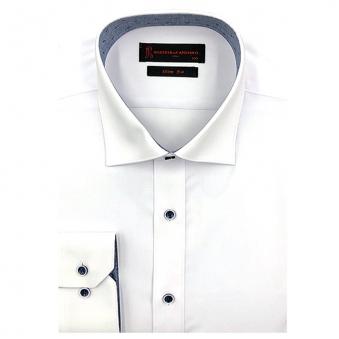 [로베르따] 소량입고 슬림핏 무지 화이트 긴소매셔츠 RJ3-351-1 (업체별도 무료배송)