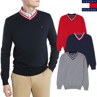 [타미힐피거] 남성 로고 브이넥 니트 스웨터 3색상 택1 (업체별도 무료배송)