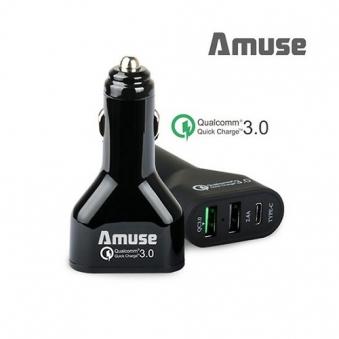 [어뮤즈] 3포트 퀵차지3.0 USB  with C타입 차량용 충전기 NCG-03  (업체별도 무료배송)