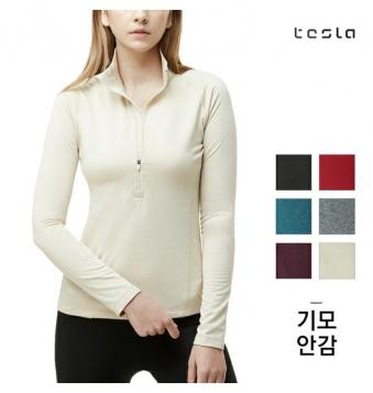 [테슬라] 여성 기모 반목 집업 티셔츠 TM-XKZ02(5색상) (업체별도 무료배송)