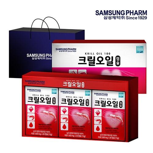 삼성제약헬스케어 크릴오일 선물세트 + 쇼핑백 500mg x 30캡슐 3개입 3개월분 (업체별도 무료배송)