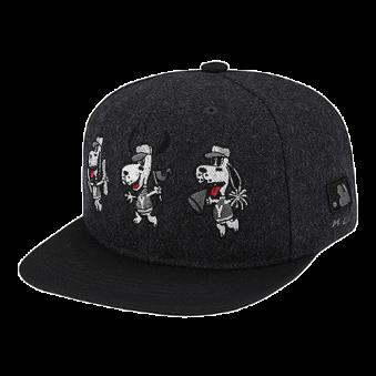[MLB키즈] 트리플 바크 캐릭터 방모 평챙 CAP(짙은 멜란지) (업체별도 무료배송)