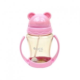 UCG베이비 유아용 쥬스컵(빨대컵) 핑크 + 곰돌이 캡 증정 (업체별도 무료배송)
