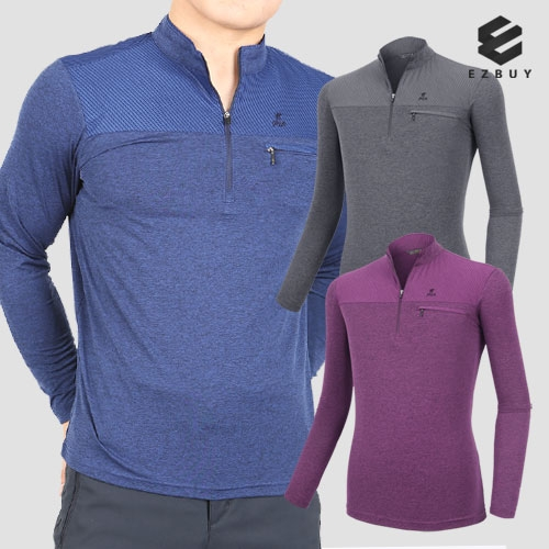 [EZBUY] [105~120사이즈] 실키터치 남성 긴팔 집업 티셔츠(P92LT012M) (업체별도 무료배송)