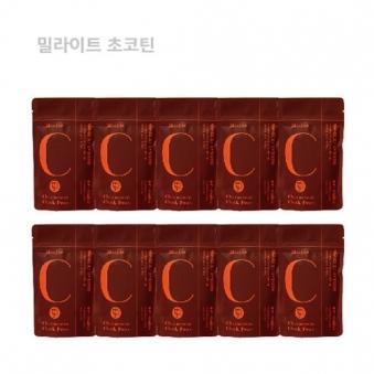 밀라이트 초코틴 무설탕 병아리콩 초콜릿 90g x 10팩 (업체별도 무료배송)