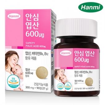 [한미] 안심 엽산 600 300mg*90정x1병 (업체별도 무료배송)